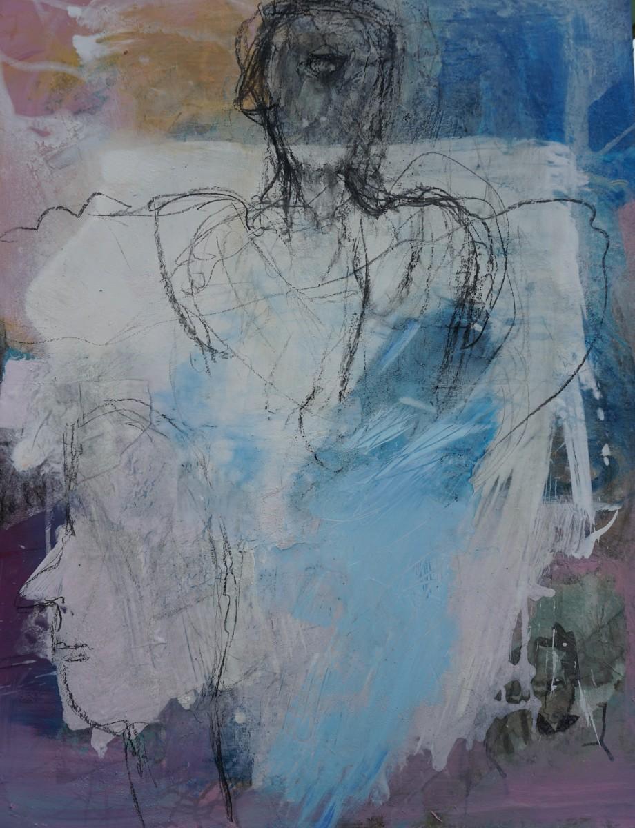 Der-Vogelmensch, Kohle/Acryl, 90x70cm, 2020