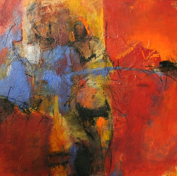 Der Flirt, 80x80cm, Pigmente 2008